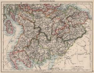 Sud De L'écosse. Dumfries Galloway Lothian Frontières Lanark Ayr. Johnston 1900 Carte-afficher Le Titre D'origine Design Moderne