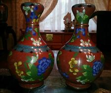 VERY RARE ANTIQUE CHINESE MATCHED SET GARLIC HEAD CLOISONNE VASES 1910 1930 pair