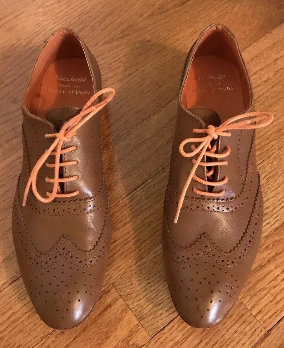 Sachetto Marc O'Polo damen Leather Wing Tip Oxford Oxford Oxford Full Brogue 40 braun lace up a405f3