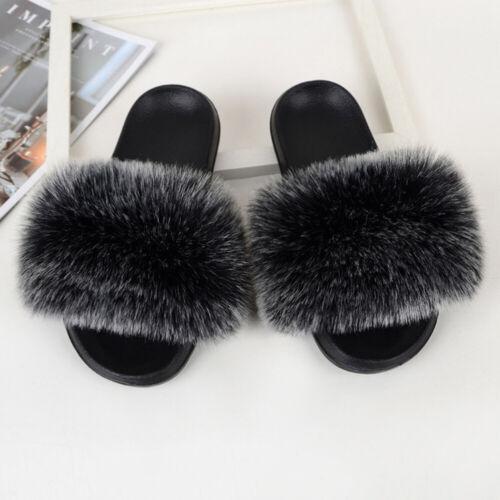 Women Fluffy Flat Slippers Shoes Comfy Imitation Fox  Fur Slidders Sandals Size