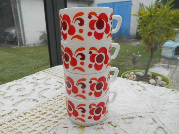 4 Grandes Tasses Café Thé Chocolat Arcopal Diamètre 9 Cm Hauteur 6 Cm