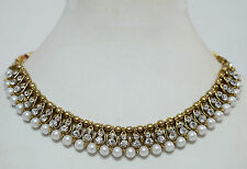 Antique Gold Plated Studded Diamond Pearl Party Necklace & Earring Jewellery Set