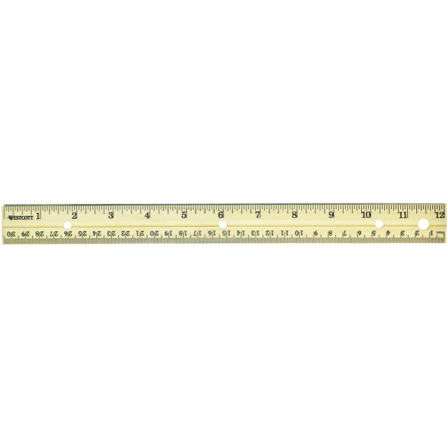 Westcott Hole Punched Wood Ruler English and Metric With Metal Edge 12