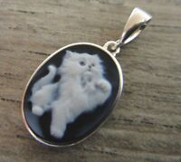 Blue And White Kitten Carved Agate Cameo And .925 Sterling Silver Pendant