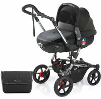 Jane Crosswalk Pushchair Black With Matrix Light 2 Carrycot Bag & Raincover