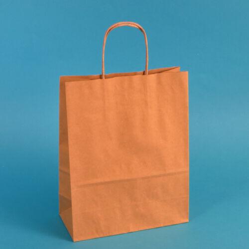 250 Premium Papiertragetaschen Papiertüten braun mit Kordel 22+10x28cm 90g//m²