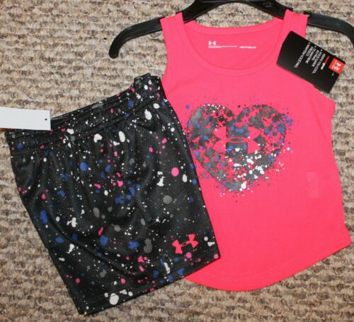 - Size 24 mo New Girls Under Armour Summer Outfit Shirt, Shorts; Pink//Black