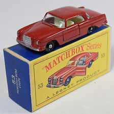 MATCHBOX #53 MERCEDES BENZ COUP, DARK RED, BPW NEAR MINT W/ EXC BOX
