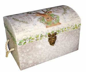Details About Punch Studio Decorative Chest Trunk Box Peace On Earth Deer Christmas 11685 Sml