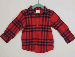 New Baby Boy Jumping Beans® Plaid Flannel Button Down Shirt 24 month