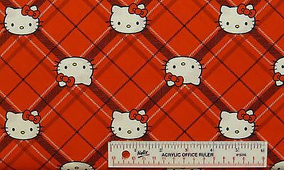 "22"" REMNANT HELLO KITTY Diamond Plaid Red White Black Cotton Fabric (N3) <"