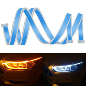 2pcs-60CM-Auto-Lamps-LED-Car-Headlight-Strip-Light-DRL-Slim-Flexible-Turn-Signal