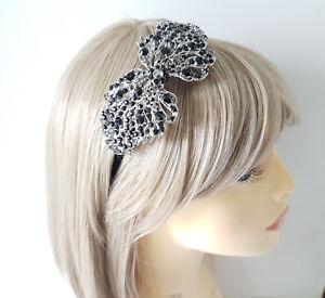 Stunning Black diamante metal flower design fascinator headband aliceband