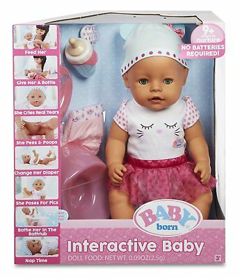Baby Born Interactive Doll Green Eyes Birth Certificate