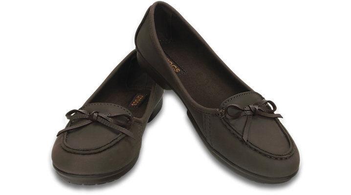 Womens Crocs Wrap colorlite Ballet Flat Standard Fit shoes UK 4 Brown R362-4