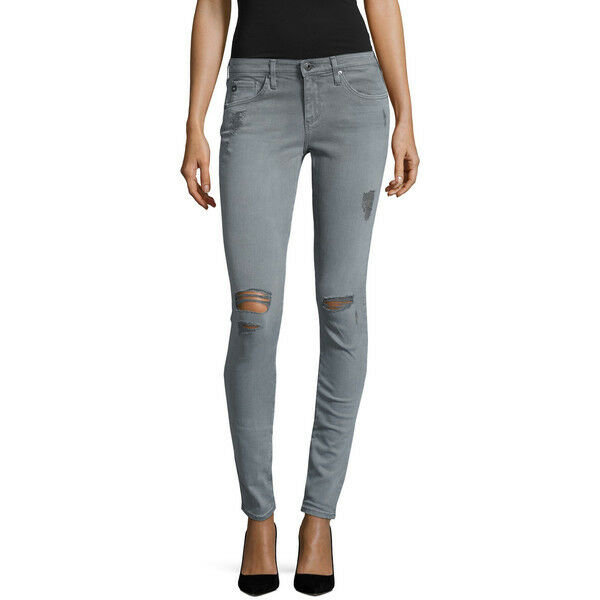 AG The Legging Super Skinny Size 27 Grey Distressed Jeans NEW 225