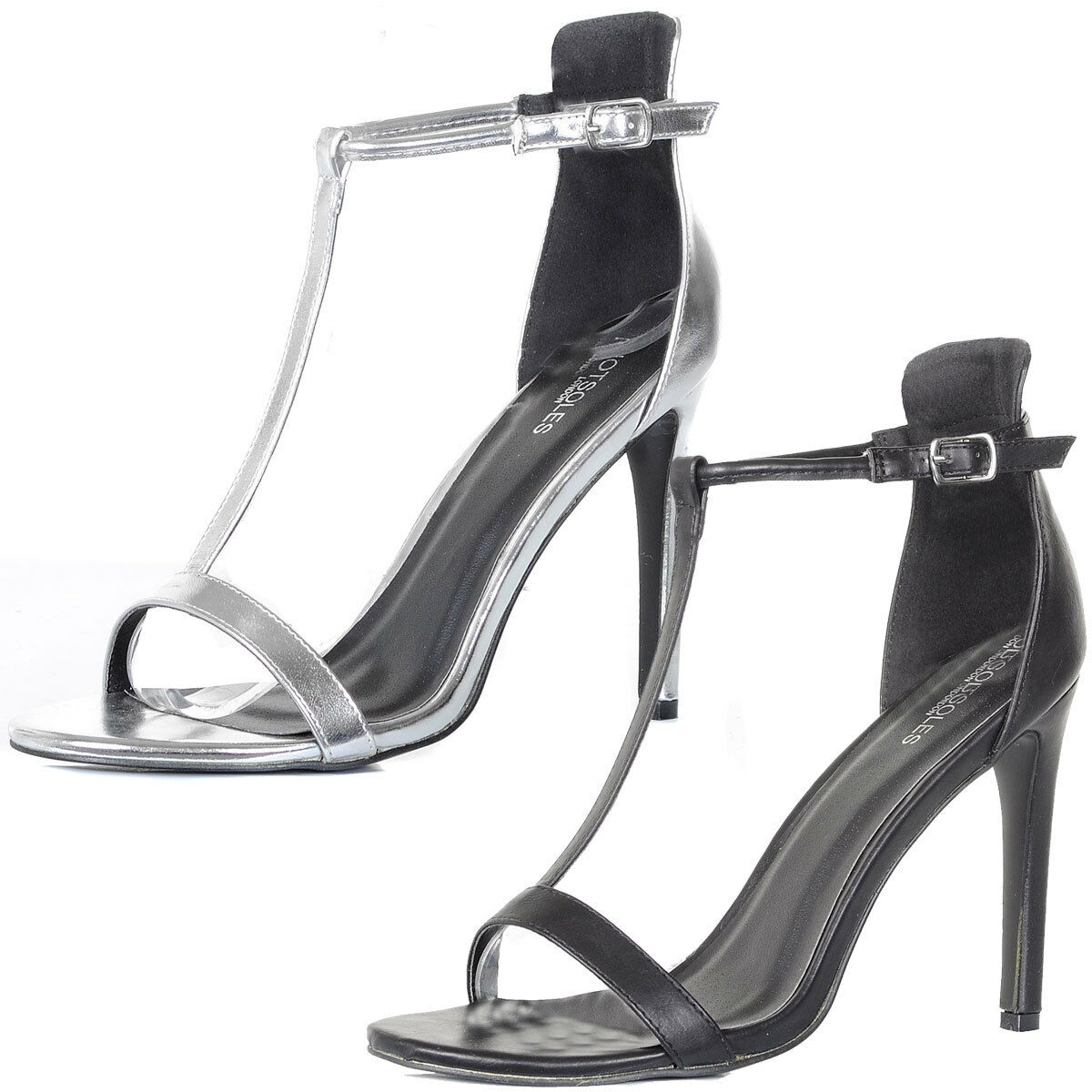 Ladies T Bar Ankle Strap High Heel Stiletto Sandals Party Shoes Size  Womens
