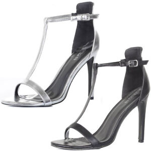 1358d4152d8 Ladies T Bar Ankle Strap High Heel Stiletto Sandals Party Shoes Size ...
