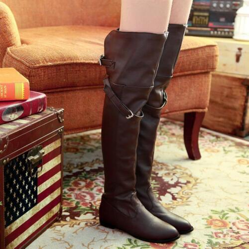 Women/'s High Heel Knee Boots Buckle Strap Flats Over The Knee Plus Size Shoes