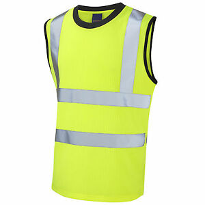 1afd50d5f8e7f Leo Workwear Hi Vis Sleeveless Yellow T-Shirt Vest Top Tank Muscle ...