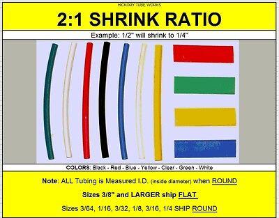 "1ea 3//16/"" inch ID Heat Shrink Tubing 2:1 Ratio Polyolefin COLORS 4/' ft Long 48/"""