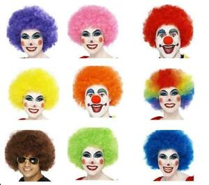 Men-039-s-Women-039-s-Afro-Wigs-Fun-Funky-Clown-Neon-Fancy-Dress-Festival-Stag-Hen-Party