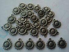 30 Pcs Silver Tone Plastic Sunflower Pendants - Jewellery Making / Crafts
