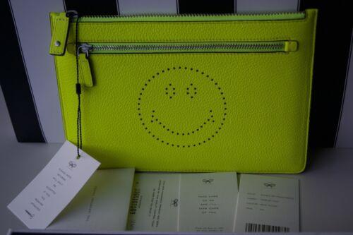 Double Hindmarch Sac fluo Zip Top pochette jaune Anya en boîte Pouch q5RdcW