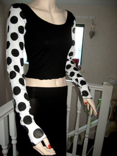 New Black white spotted  Extra long sleeve Party Gift Retro crop top all sizes