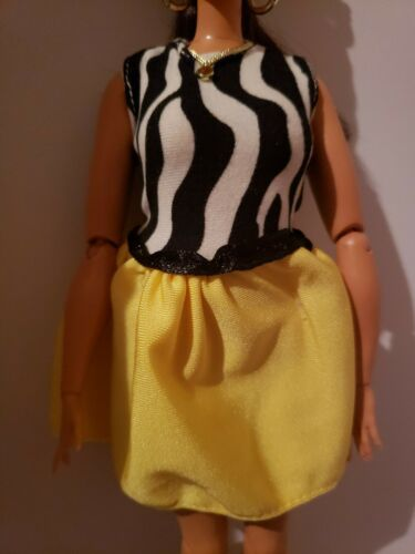 BLACK /& WHITE STRIPED TOP WITH YELLOW BOTTOM DRESS for  CURVY Barbie