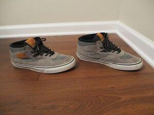 7eb63764a0c2dc Used Worn Size 11 Vans Half Cab Skateboard Shoes Gray White Black