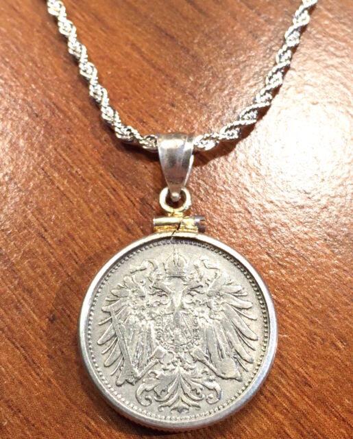 Antique 1893 Imperial Austria Eagle Coin Silver Pendant & Silver Plated Necklace