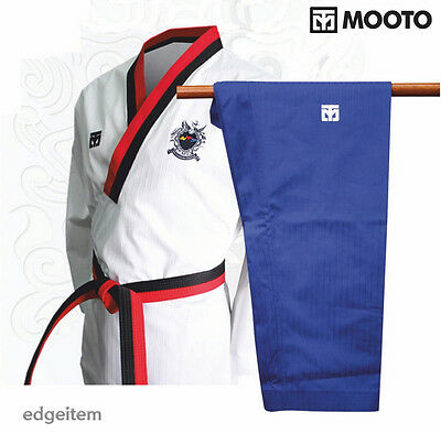 TKD TaeKwonDo uniforms Moospo uniform MASTER DOBOK BLUE+BLACK BELT Kukkiwon