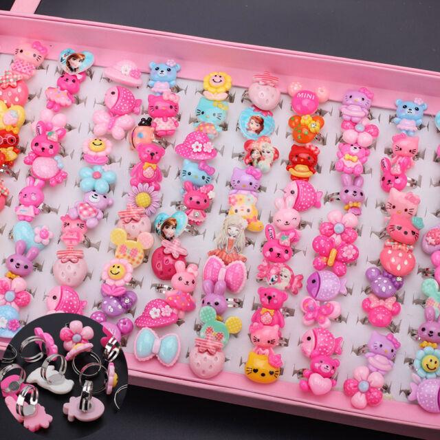 Wholesale Mixed Assorted Flower Animal Metal Cartoon Girls Baby Children Rings