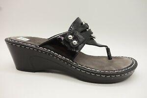 Alegria-Black-Patent-Leather-Adjustable-Straps-Slide-Sandals-Womens-38-8-8-5
