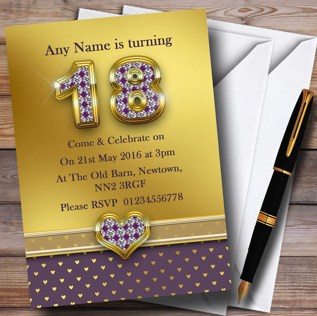 Gold Satin And lila Hearts 18Th Personalised Birthday Party Invitations