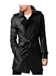 LEATHER TRENCH COAT MEN/'S STYLISH BELTED BLACK LONG COAT PEA COAT-BNWT