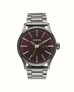 b1e2097357c Nixon Sentry SS Gunmetal   Deep Burgundy Watch Red for sale online ...