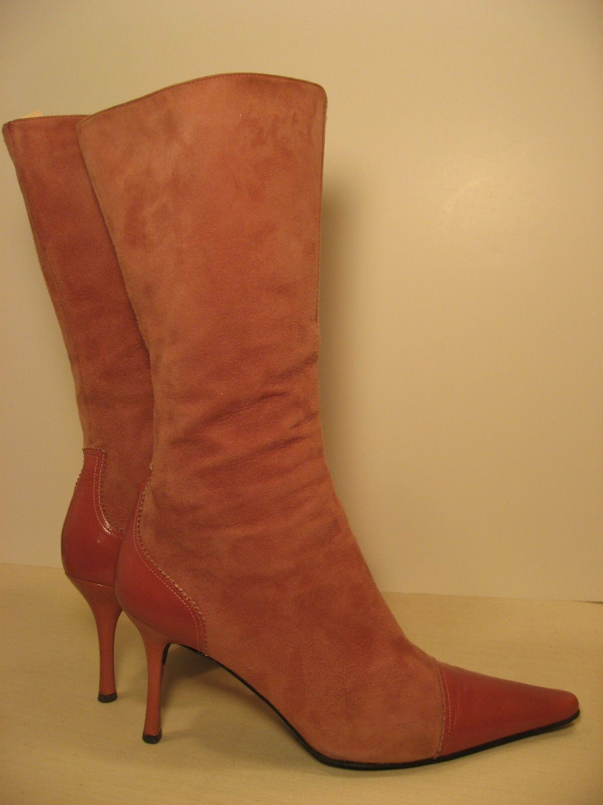Guiseppe Zanotti Vicini Calf High Pink Suede Leather Boots 39 1 2 or 9