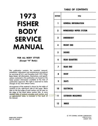 Motors Service & Repair Manuals research.unir.net 1973 Fisher Body ...
