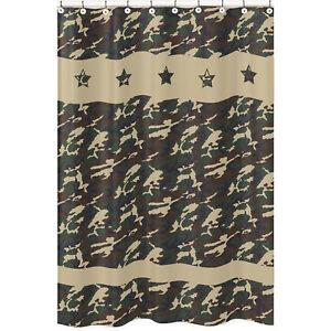 Image Is Loading Sweet Jojo Designs Green Camouflage Kid Bathroom Fabric