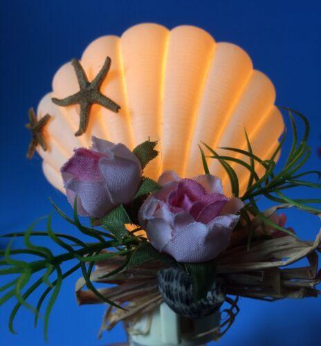 Plastic Seashell Nightlight with Flowers Assorted Designs