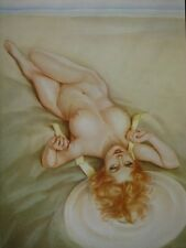 "Varga Girl Art Nude ""Redhead On The Beach"" Alberto Vargas Large Glossy Print WOW"