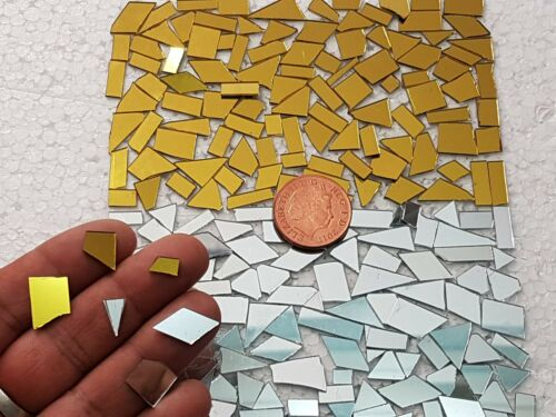 Art/&Craft 600 pieces 1mm thickness Mixed Offcuts Gold /& Silver Glass Mirror