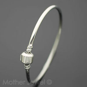 63MM-POPULAR-STERLING-SILVER-PLATE-EUROPEAN-CHARM-BEAD-CLASP-SNAP-CLIP-BANGLE