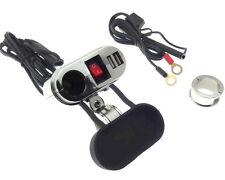 Motorrad 12V Zigarettenanzünder 2x USB Steckdose 5V Wasserdicht Silber Halterung
