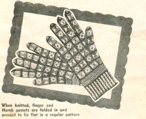 2//3//4 ply Childs Ladies Knitting Pattern-Copy  Vintage Sanquhar Gloves Gents