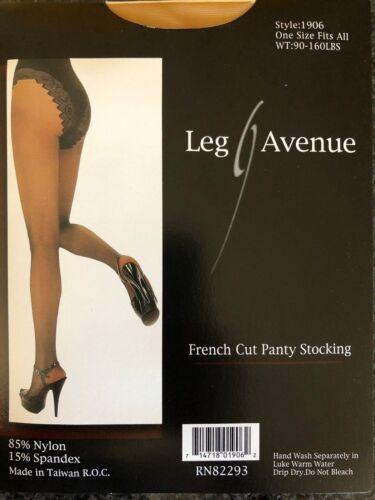 Nude OSFM LA1906 Pantyhose Tights Black French Cut Panty Leg Avenue Sheer