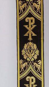 Vintage-Religioso-Diseno-Oro-Chi-Rho-Negro-Banda-Vestment-Seda-7-6cm