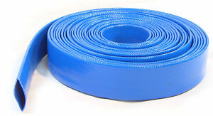 10 Metres of Layflat Water Delivery Hose Discharge Pump Irrigation Blue Tubing